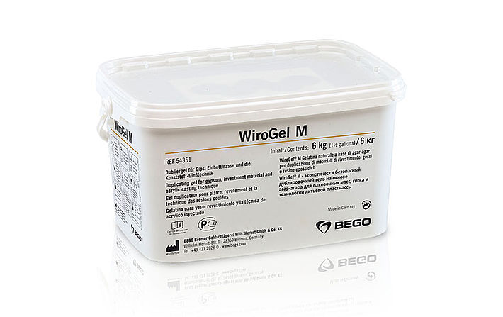 WiroGel M – The universal and reversible duplicating material on an agar-agar base for investment material, plaster and acrylic casting technique