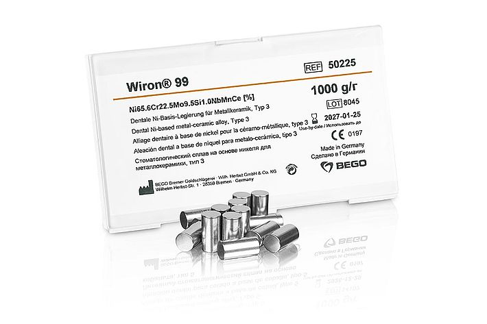 Wiron® 99 –  Non-precious alloy for metal-ceramic work or composite veneering - beryllium-free