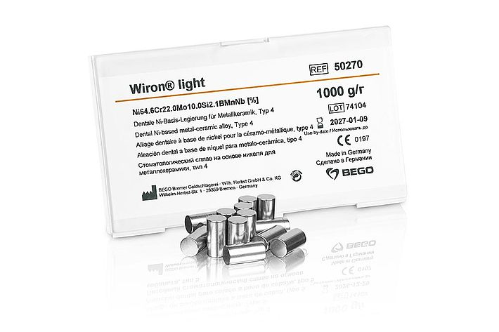 Wiron® light – The non-precious alloy for metal-to-ceramic work, with light oxide – beryllium-free